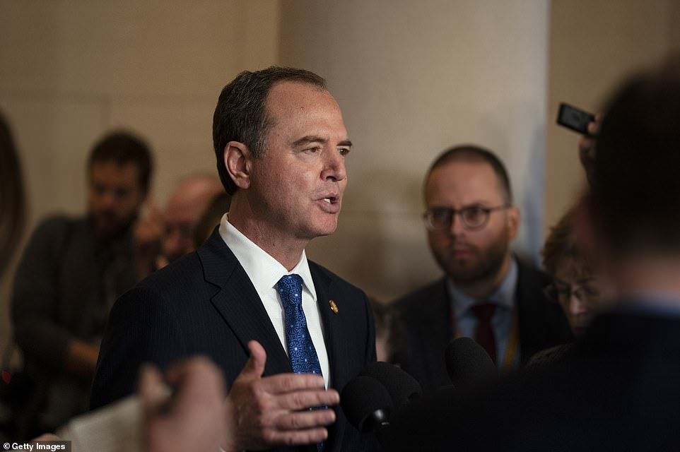 During a short break, Schiff spoke to the media to say Sondland's testimony showed President Trump committed an impeachable offense. 'I think today's testimony is among the most significant evidence to date,' he said