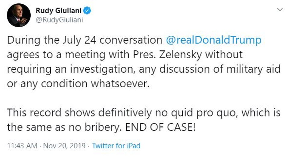 Trump's personal lawyer Rudy Giuliani tweeted during the hearing that the 'record shows definitively no quid pro quo,' emphasizing: 'END OF CASE'