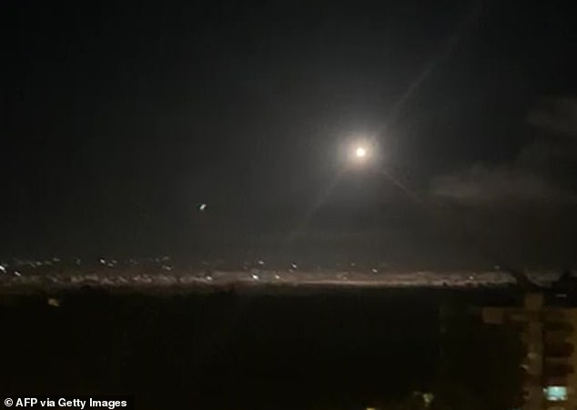 An image grab shows on November 20, 2019 reportedly shows Syrian air defence batteries responding to Israeli missiles targeting the southern outskirts of Damascus