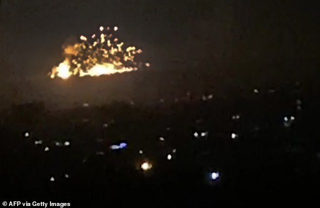 Another image grab from a video posted to social media shows the scale of explosions that rocked Damascus last night after Israel conducted air strikes against Iranian targets in Syria