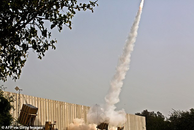 An Israeli interception missile is fired above the southern Israeli city of Ashkelon on November 13, 2019, to intercept incoming short-range rockets launched from the Palestinian Gaza Strip. Islamic Jihad launched a number of rockets into southern Israel last night and a few hours later, Israeli military responded by attacking a number of Hamas outposts