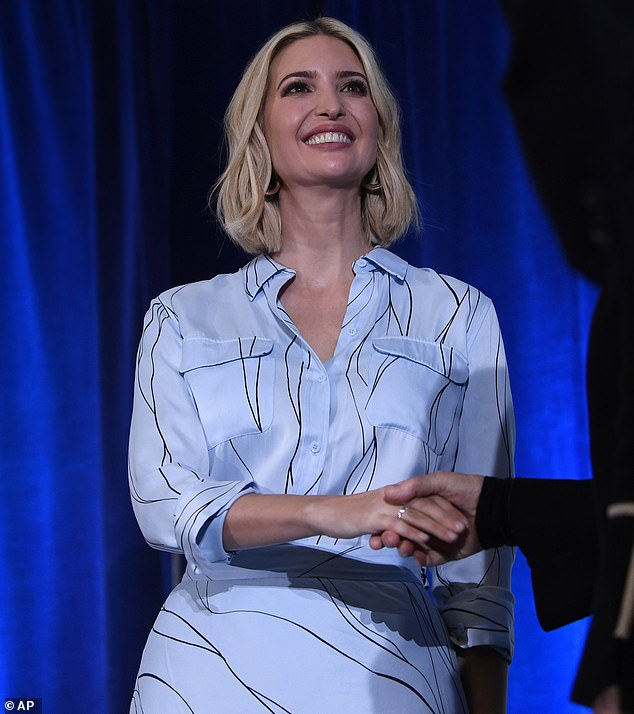 Speaking out: Ivanka was helping to promote herWomen's Global Development and Prosperity Initiative, while announcing new recipients of grants as part of the program