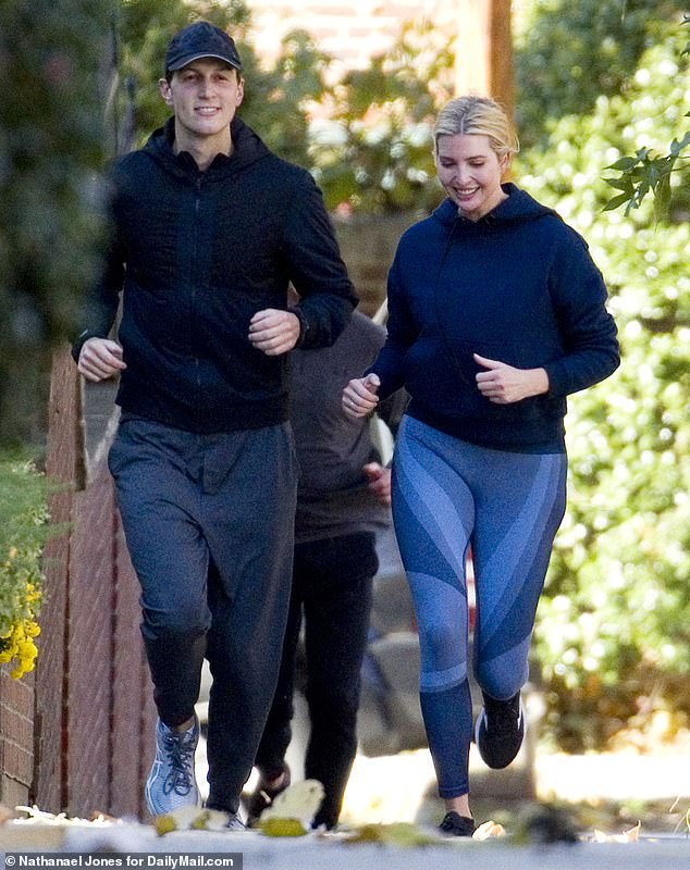 Feeling fit: Ivanka and her husband, fellow White House senior adviser Jared Kushner, braved near-freezing temperatures on Saturday when they went for a run together