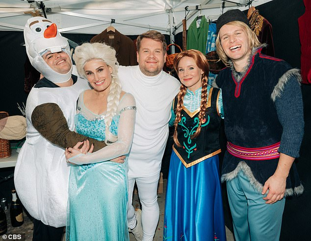 The starry cast: Frozen 2's Josh Gad as snowman Olaf, Idina Menzel as Elsa, James Cordon,  Kristen Bell as Anna,  and Jonathan Groff as reindeer wrangler Kristoff celebrate surviving their risky gig on James's Cross Walk version of the Disney musical on Wednesday