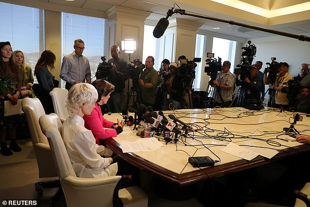 The victim appeared at the press conference with lawyer Gloria Allred in Los Angeles on Monday
