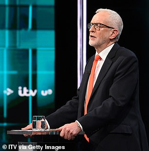 Jeremy Corbyn answers questions during the ITV Leaders Debate at Media Centre in Salford