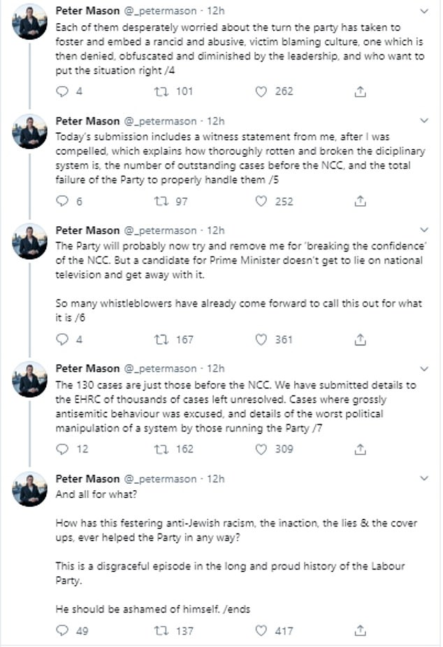 Chairman of the Jewish Labour Movement Peter Mason was scathing about his party leader's 'disgraceful' response to internal racism