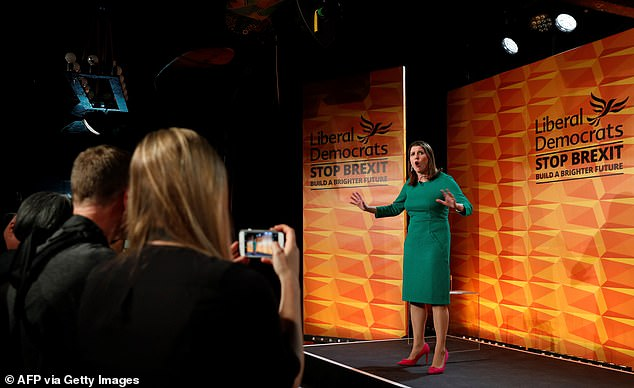 Jo Swinson spoke for just 15 minutes during the party's manifesto launch in a bar in Camden town, London, on Wednesday