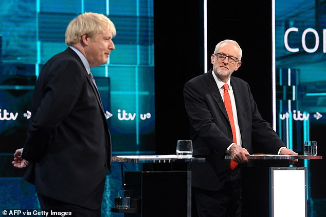 Pictured: Prime Minister Boris Johnson (left) and Labour Party leader Jeremy Corbyn (right)on the set of 'Johnson v Corbyn: The ITV Debate'