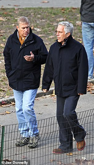 A source said the trip was scrapped as a result of the fall-out from his BBC Newsnight interview about Jeffrey Epstein (pictured together in 2010)