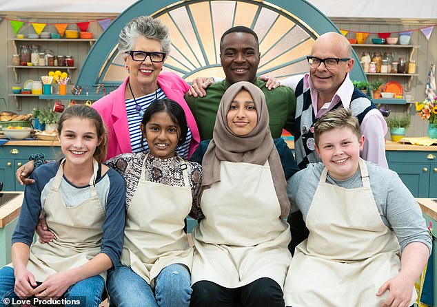 Over the moon: The teen beat out finalists [L-R] Eliza, Amal, Aleena after wowing the judges Prue Leith [top left] and Liam Charlies [centre back] in the show hosted by Harry Hill [top right]