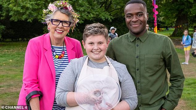 Sensational: Fin described the moment he won as 'the best day of his life' as judge Liam [to right] praised his 'faultless' final bake [Prue Leith pictured top left]