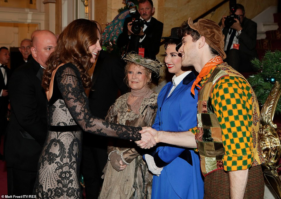 Kate greets cast members of Mary Poppins, includingZizi Strallen (as Mary Poppins), Charlie Stemp (as Bert) and Petula Clark (as Bird Lady)