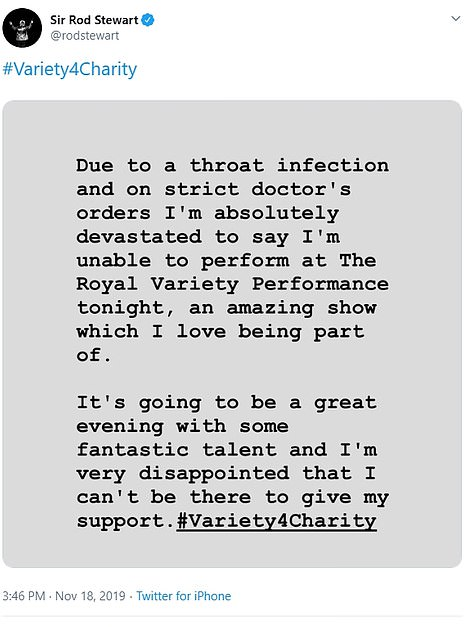 Headline act Sir Rod Stewart was unfortunately forced to pull out at the last minute on 'strict doctor's orders' due to a throat infection. He shared the news on Twitter (pictured)