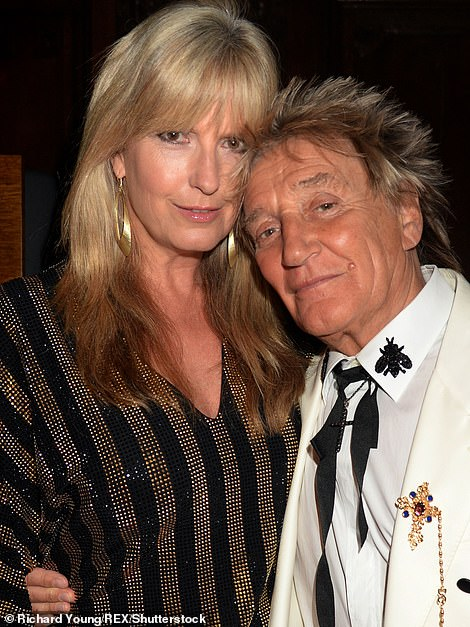 Headline act Sir Rod Stewart was unfortunately forced to pull out at the last minute on 'strict doctor's orders' due to a throat infection. He shared the news on Twitter (pictured with wife Penny Lancaster)