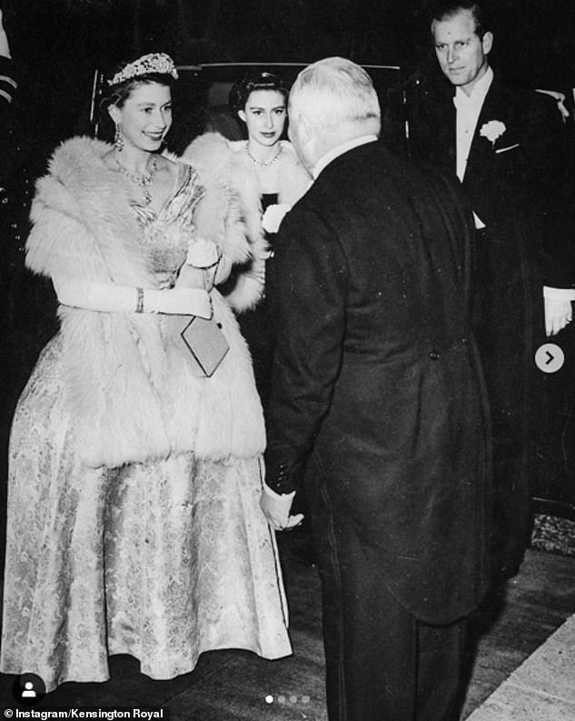 The Duke and Duchess of Cambridge shared four throwback snaps ahead of theRoyal Variety Performance at the London Palladium tonight. Pictured,the Queen arriving for the #RoyalVarietyPerformance in 1952, with The Duke of Edinburgh and Princess Margaret