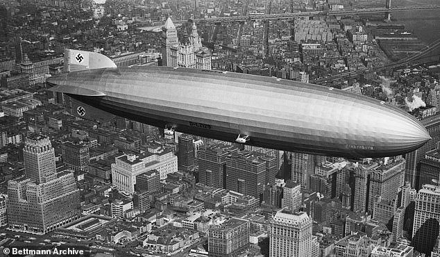 The LZ 129 Hindenburg was the largest aircraft ever built, and was the pride of Germany's Third Reich. It is pictured flying over New York before its ill-fated docking a short time later in New Jersey