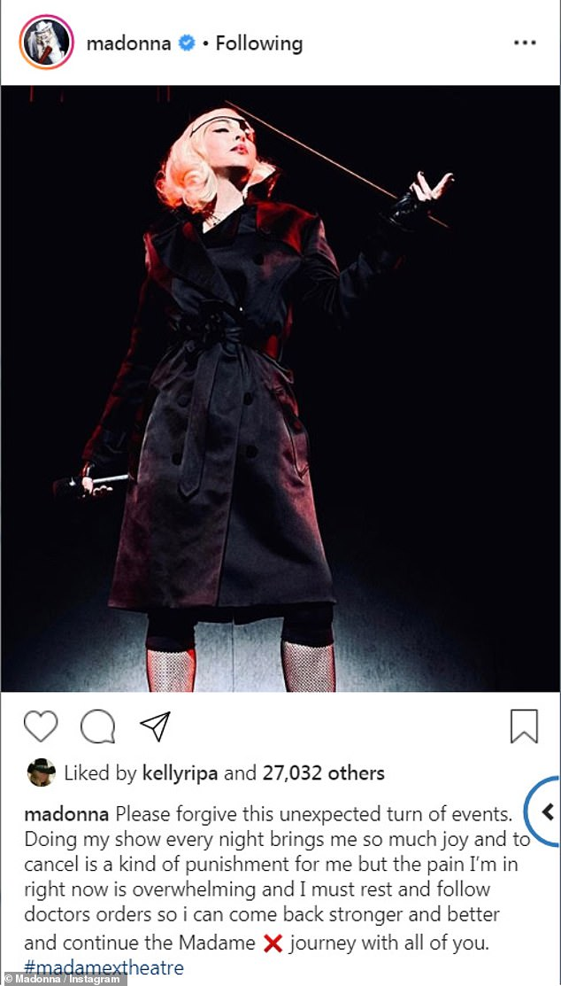 Statement: Madonna announced on Wednesday that she has been forced to cancel three upcoming shows in Boston, Massachusetts due to 'overwhelming' pain