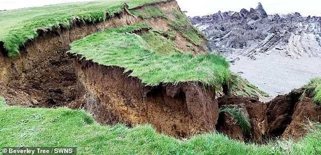 The pictures show the coastal path above Crooklets beach, towards Northcott Mouth, Bude, Cornwall after a landslip