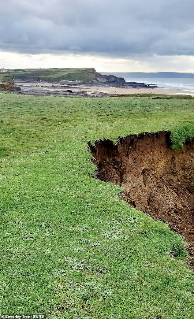 These pictures show a huge landslip where massive chunks of a cliff have fallen away from the coast path