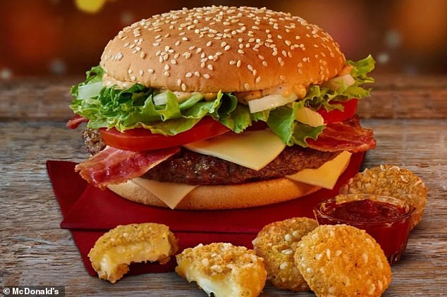 McDonald's unleashed its Christmas menu today - with the much-missed Big Tasty (pictured), which costs £4.29, returning after a year-long absence