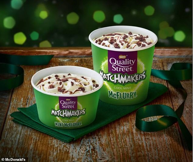 Also arriving back on the festive scene is the £1.39 Matchmakers Cool Mint McFlurry (pictured) - the fan favourite hasn't been seen in the fast food chain's restaurants since 2013