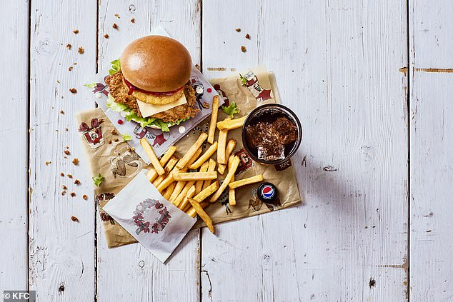 KFC's Festive Burger (pictured with chips and a drink) is coming to town this Christmas – packed with its famous Original Recipe fillet, a crispy hash brown, sage & onion stuffing-flavoured mayo and topped with a tangy cranberry dressing and a layer of cheese