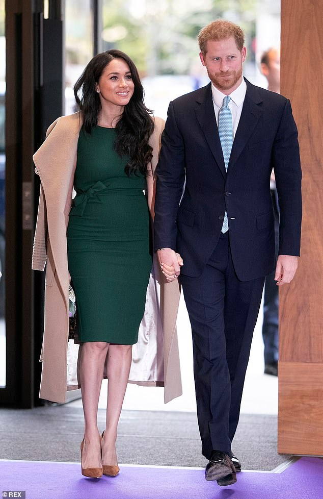 Meghan recycled the fitted green wool dress by P.A.R.O.S.H. she wore for her engagement interview and a Sentaler coat she wore for her first Christmas at Sandringham to attend the WellChild Awards in October