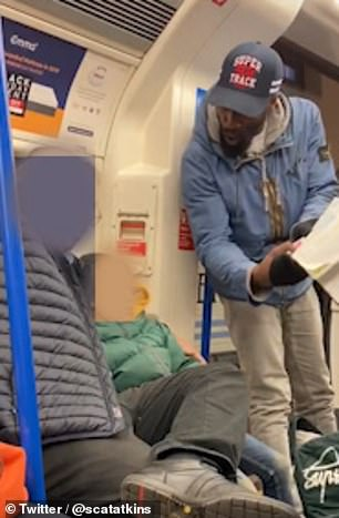 The footage was recorded by a commuter on board a Northern Line train on the underground in London