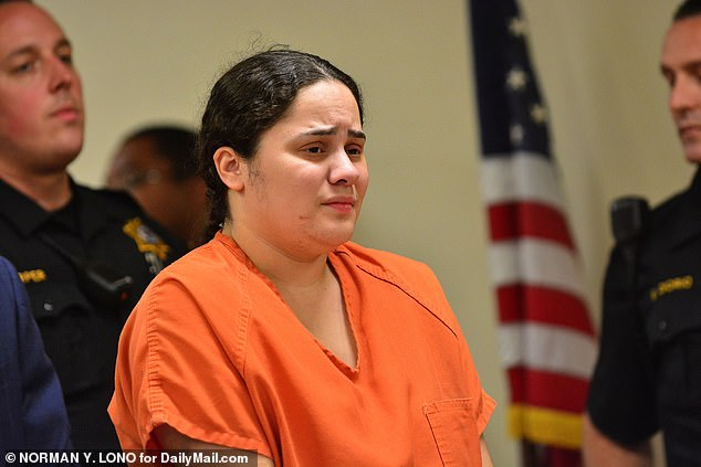 Amanda Ramirez (pictured in court in June), of New Jersey, received a six-year sentence on Thursday for fatally stabbing her identical twin sister, Anna, during a drunken street fight