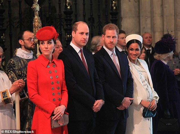 'No one' in the royal family is 'checking in, texting or speaking to' Prince Harry, 35, and Meghan Markle, 38, after they opened up about their struggles in an ITV documentary last month (pictured, with Prince William, 37, and Kate Middleton, 37, in March)