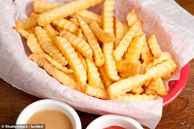 Straight-cut fries trumped crinkle-cut chips (pictured, file image) according to a study of 2,000 adults by the Food Advisory Board