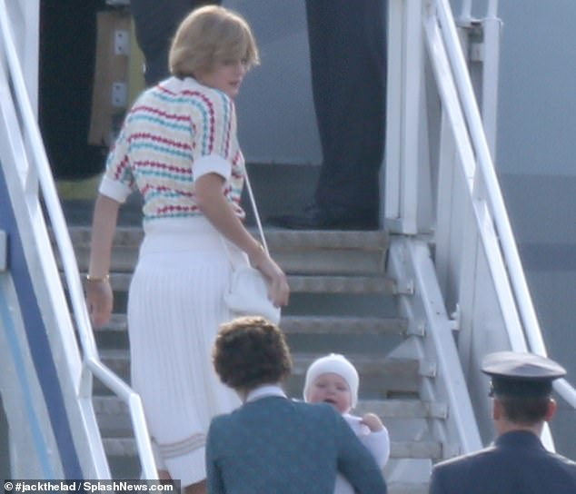 Actress Emma Corrin adopted Diana's iconic early 1980s hairstyle and Sloane Ranger fashion sense to shoot the scenes in Dunsfold Aerodrome in Surrey