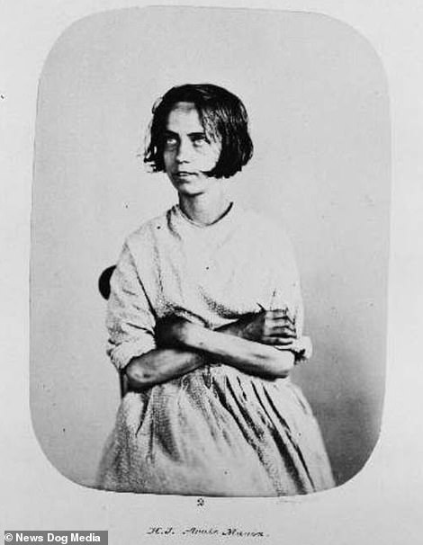 Before shot of Harriet Jordan, a cloak and mantle maker, was admitted to Bethlem Asylum, London aged 24 in May 1858