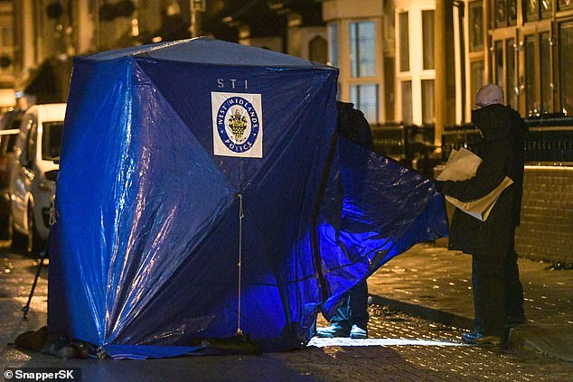 A blue tent was erected just yards from a chemists in the street, where a group of onlookers were standing at the police cordon