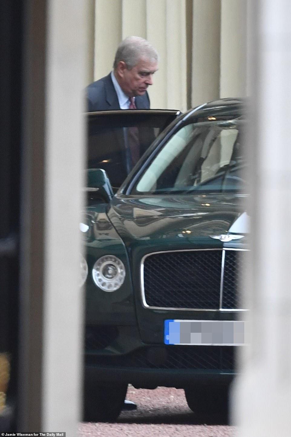 Andrew looked more downcast as he exited his £170,000 Bentley Flying Spur sports car in Buckingham Palace's courtyard this afternoon before a meeting with the Queen today. He also has his office at his mother's London home
