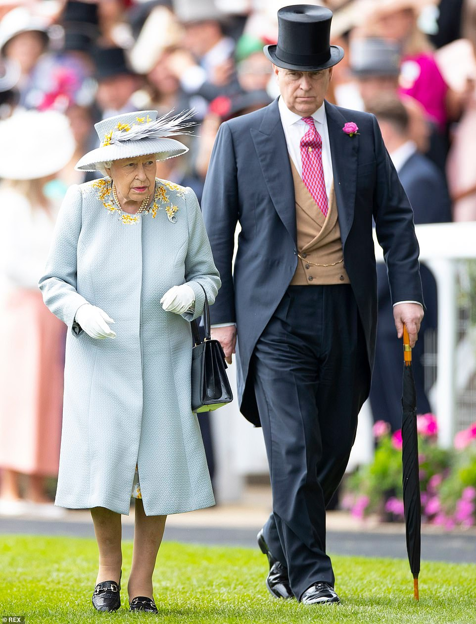Pictured: Queen Elizabeth II and Prince Andrew attend Ladies Day at Royal Ascot in June
