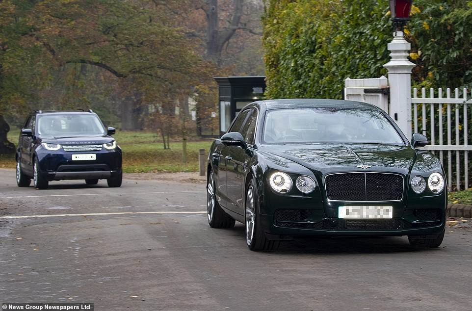 Andrew, pictured driving a Bentley followed by his security team in a Land Rover Discovery, as his trip to flood-hit South Yorkshire was scrapped. The Palace blamed electioneering up there but insiders contradicted this by claiming it was because of his BBC disaster