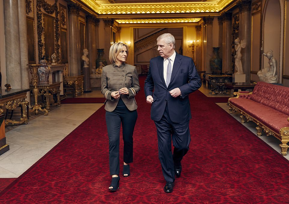 Richard Kay and Geoffrey Levy have written that Prince Andrew was brought down by greed, arrogance and jealousy. He is pictured here with Emily Maitlis ahead of his disastrous BBC interview about his relationship with Jeffrey Epstein