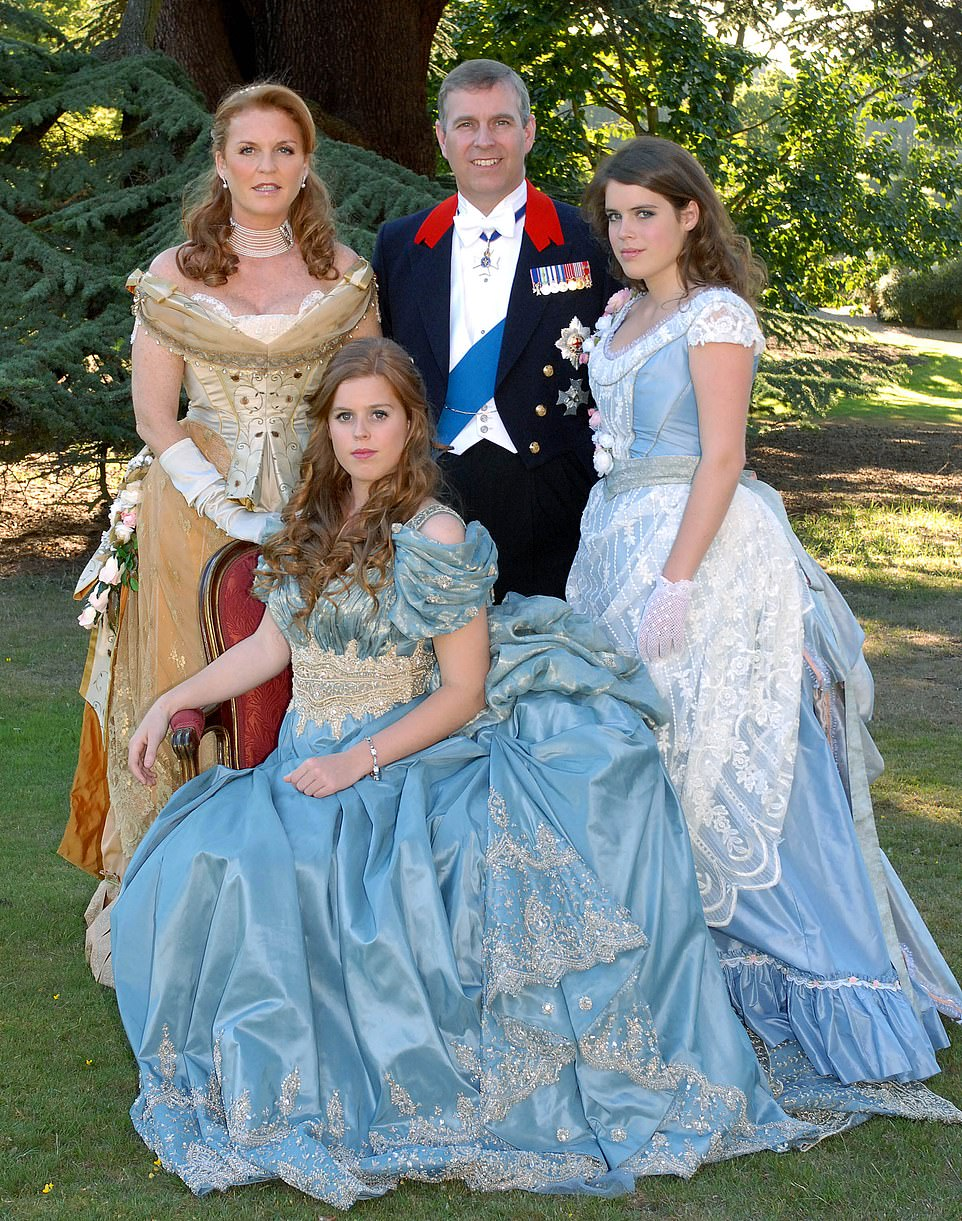 A FAMILY BALL: The Yorks dress up in their glad rags to mark Beatrice's 18th in 2006