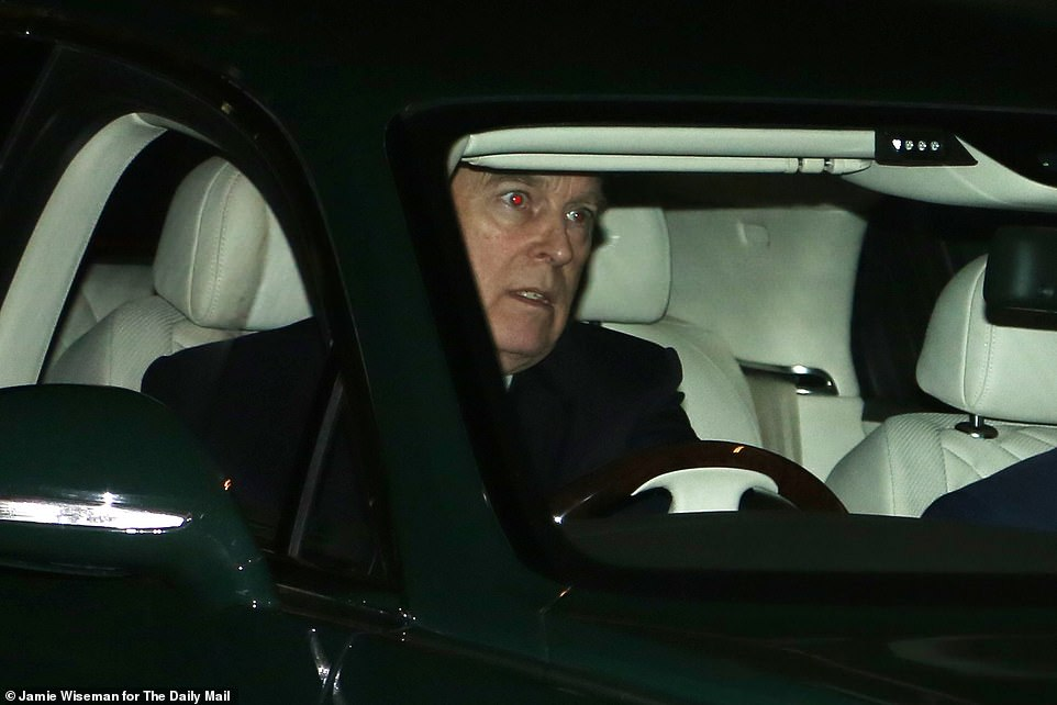 Prince Andrew leaves Buckingham Palace after spending the afternoon there behind a desk on Tuesday - the first time he had been seen since his BBC interview