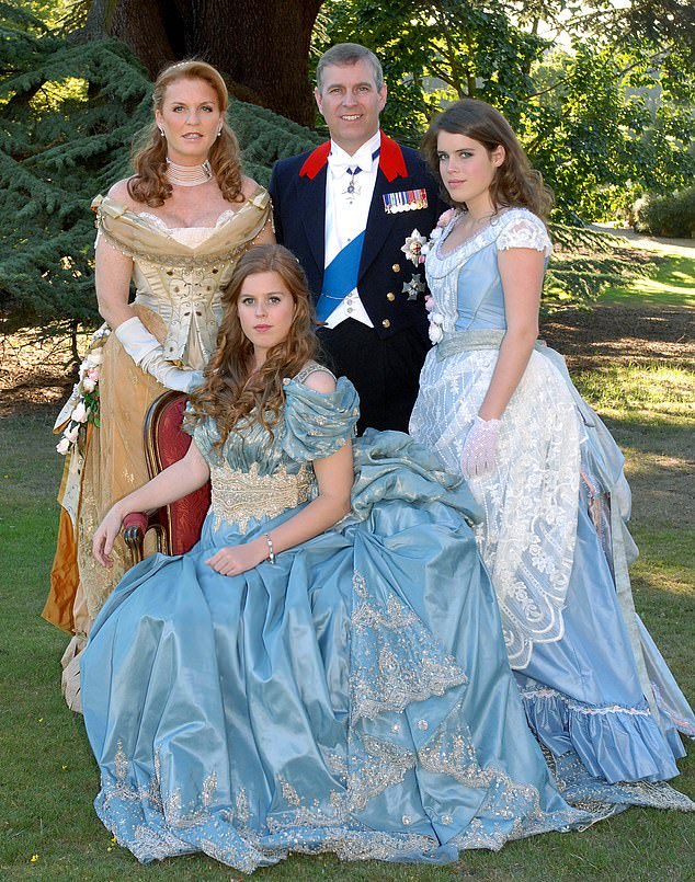 Eugenie and Beatrice's jobsare not enough to keep them in the manner to which they have become accustomed, and Andrew has long subsidised their lifestyles (pictured at a ball in Windsor in 2006)