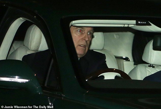 Pictured: Andrew leaves Buckingham Palace after spending the afternoon there behind a desk on Tuesday - the first time he had been seen since his BBC interview