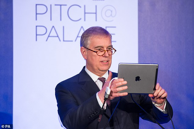 The Duke of York holds an iPad as he invites the audience at a Pitch@Palace event in London to sing happy birthday via the Facetime app to his daughter Princess Eugenie in March 2015