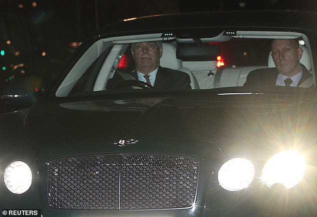Prince Andrew (pictured leaving Buckingham Palace in central London on Thursday) was told to step down from royal duties