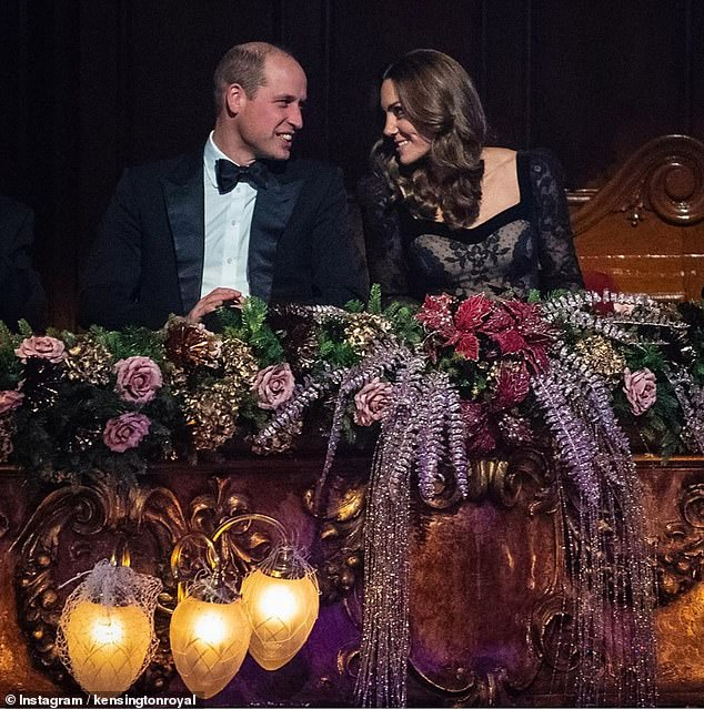 Like-minded: The Duke and Duchess of Cambridge were photographed in their seats at the London Palladium during the show in an image later shared on their Instagram account. Judi told how they mirrored each other with 'eye-engage signals' and heads at matching angles