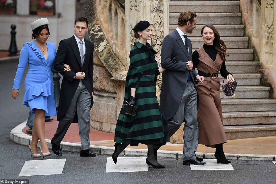 (L-R) Marie Chevallier, Louis Ducruet, Beatrice Borromeo, Pierre Casiraghi and Alexandra of Hanover arrive at the Monaco Cathedral