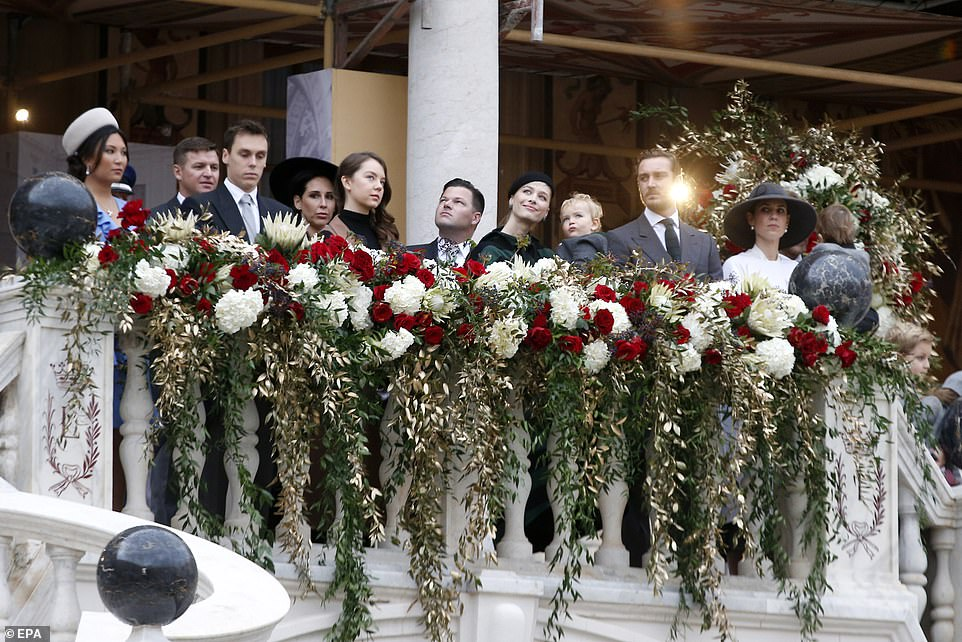 Louis Ducruet (front L), Princess Alexandra of Hanover (front 2-L), Pierre Casiraghi (front 2-R) and his wife Beatrice (front C), Andrea Casiraghi's wife Tatiana (front R)