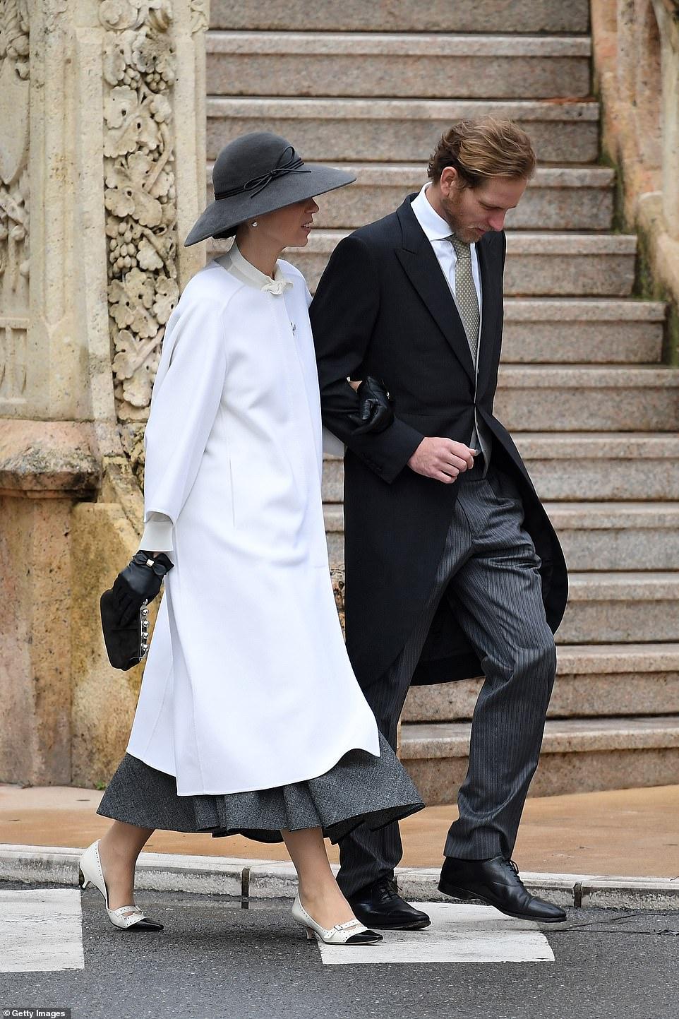 Tatiana Santo Domingo and Andrea Casiraghi arrive at the Monaco Cathedral