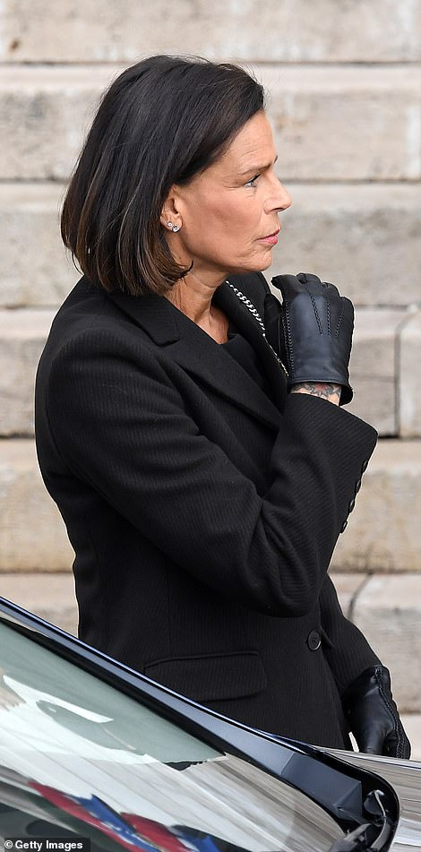 Princess Stephanie of Monaco arrives at the Monaco Cathedral during the Monaco National Day Celebration